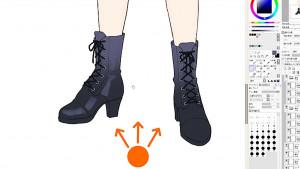 仔細描繪鞋子細節!上色繪圖過程
